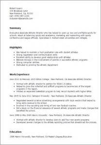 Sample Resume Objectives For Athletic Director by Professional Associate Athletic Director Templates To