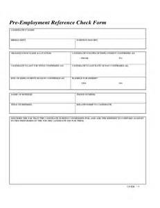 Employment Reference Check Form Template by Pre Employment Reference Check Form Free