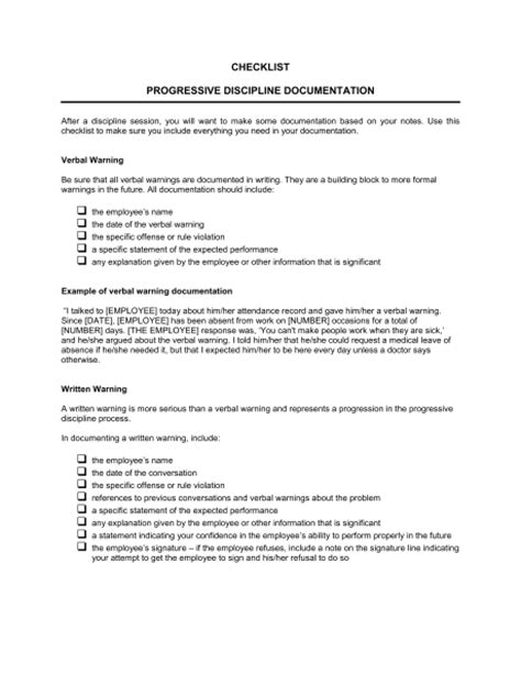 Checklist Progressive Discipline Documentation Template Sle Form Biztree Com Documenting Employee Performance Problems Template