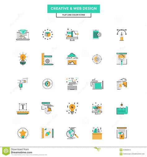 icon design concept flat line color icons web design stock vector image
