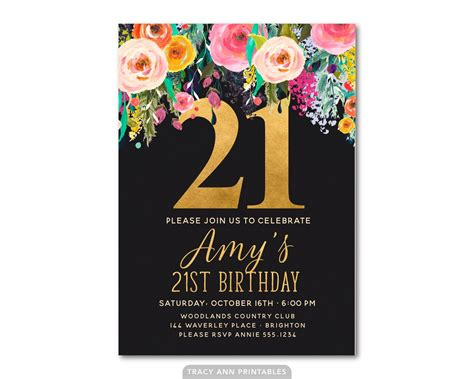 21st Birthday Invitation Floral 21st Birthday Invite 21st 21st Birthday Invitation Templates