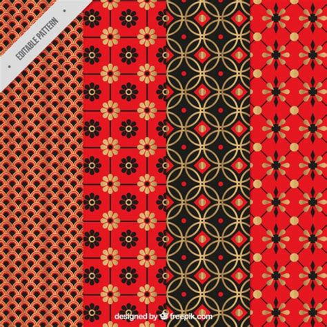 asian pattern ai collection of red japanese pattern vector free download