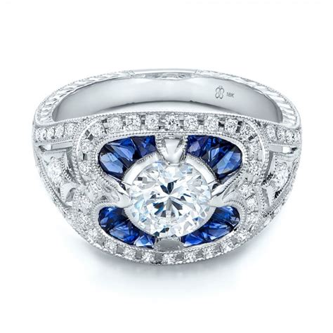 and sapphire deco ring deco and blue sapphire engagement ring 101985