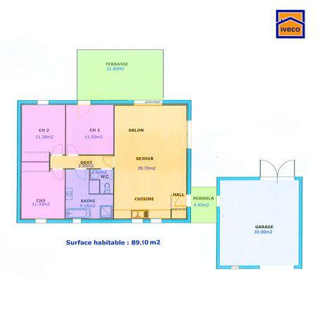 Plan De Maison Simple 3 Chambres En Tunisie by Plan De Maison Individuelle Plain Pied