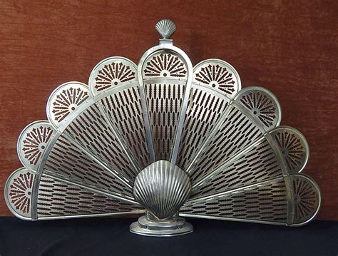 Vintage Brass Peacock Fan Sea Shell Fireplace Screen Brass Fan Fireplace Screen