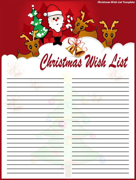christmas wish list template best word templates