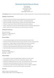 resume sles biomedical scientist resume sle
