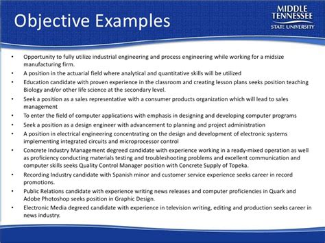 career objective statement for engineers resume workshop mtsu career countdown