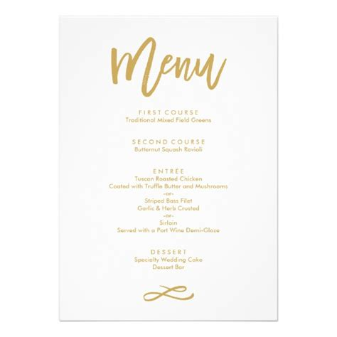 how to make wedding menu cards chic lettered gold wedding menu card zazzle