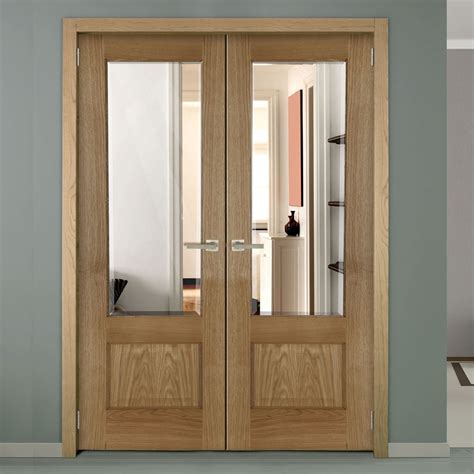 Oak Glass Doors Chiswick Oak Pre Finished Door Pair With Bevelled Clear Safety Glass