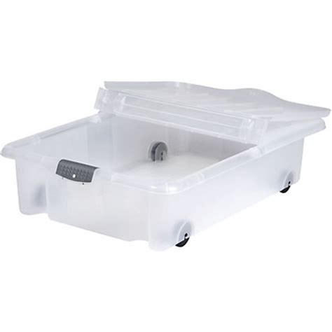 rolling underbed plastic storage box with lid 35l