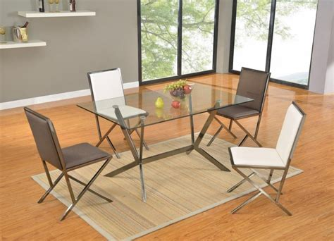 rectangular glass dining table with brushed nickel frame