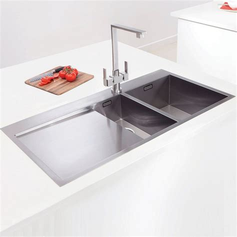 inset stainless steel kitchen sinks caple cubit 150 one and a half bowl stainless steel inset