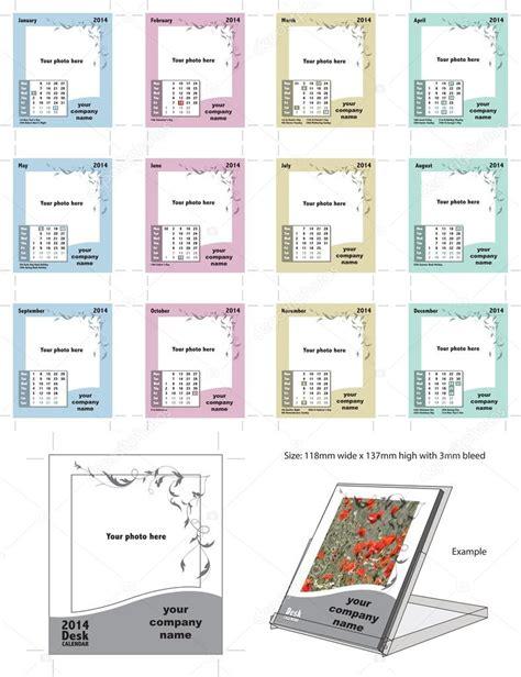 print your own desk calendar 2014 flourish desk calendar vector template stock