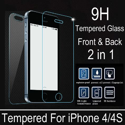 Tempered Glass Anti Iphone 4 Tempered Glass Black Iphone 4 2 pcs lot front back premium tempered glass for iphone 4s 4 explosion proof anti scratch