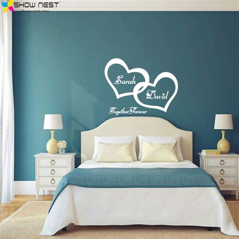 name stickers for bedroom walls symbol of love forever wall sticker double heart custom