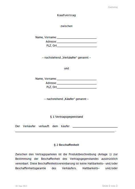Kaufvertrag Motorrad Neu by Kaufvertrag Allgemein Vorlage Zum Download