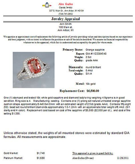 professional jewelry appraisal in arbor