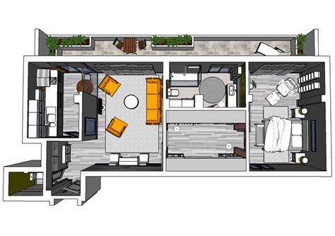 floor plan for bachelor flat bachelor apartment 3d floor plan my home pinterest