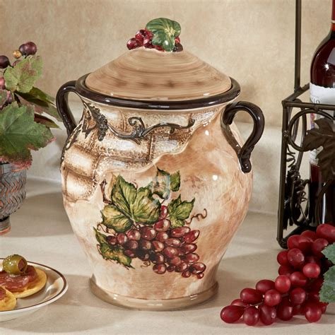 wine kitchen canisters tuscan view grape design biscotti jar