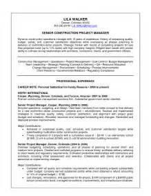 Construction Project Manager Sle Resume by Construction Supervisor Resume