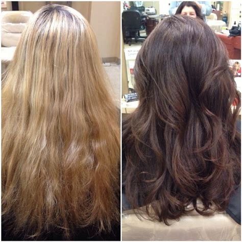 before and after layered haircuts before and after warm blonde to a rich chocolate brown