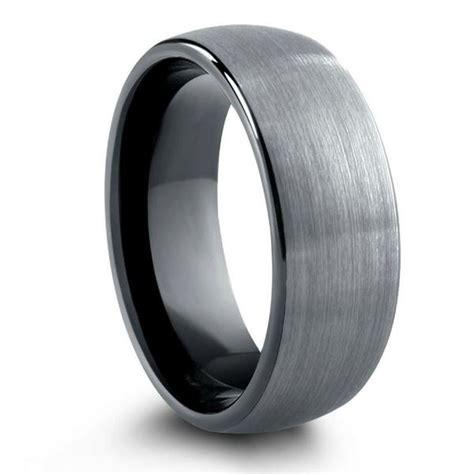 brushed tungsten wedding band  black  mm