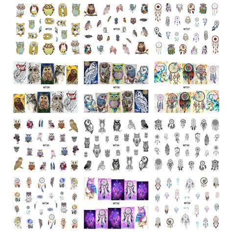 sticker tattoo bandung mix owl nail art water sticker 1 sheet multi color