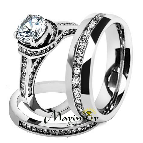 hers his stainless steel 3 piece cz wedding ring set and