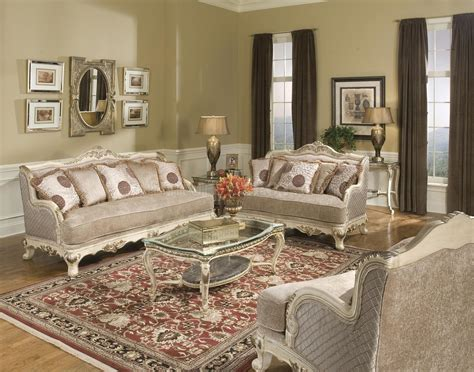 pewter fabric traditional living room w carved wood frame