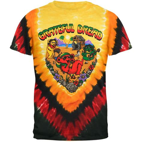 grateful dead positive vibrations tie dye mens t shirt