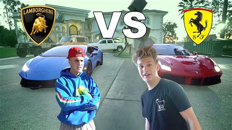 jake paul lamborghini i raced jake paul lamborghini vs ferrari youtube
