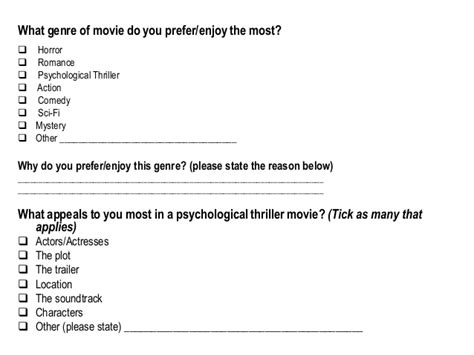 action film questionnaire film trailer questionnaire
