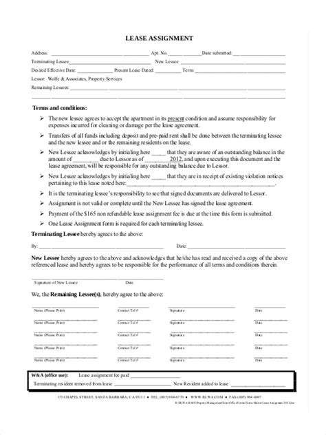 assignment of lease template 34 lease forms in pdf