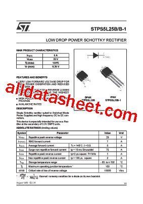 datasheet transistor on5252 pdf stps5l25b 1 datasheet pdf stmicroelectronics