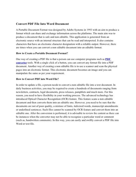 Convert PDF File Into Word Document
