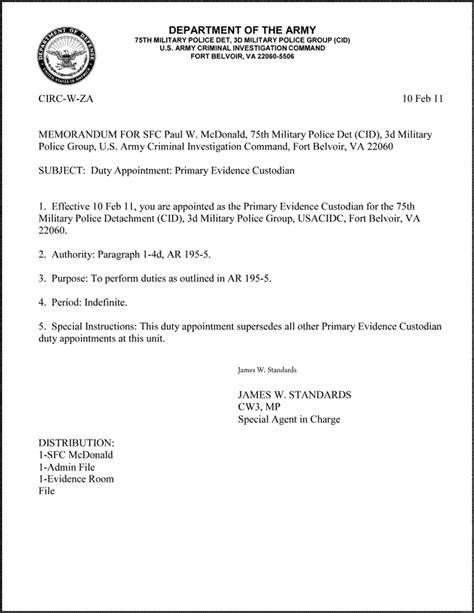 memorandum for record format army best template amp design