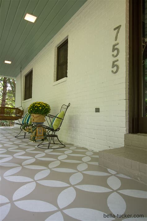 hometalk stenciled  painted front porch makeover