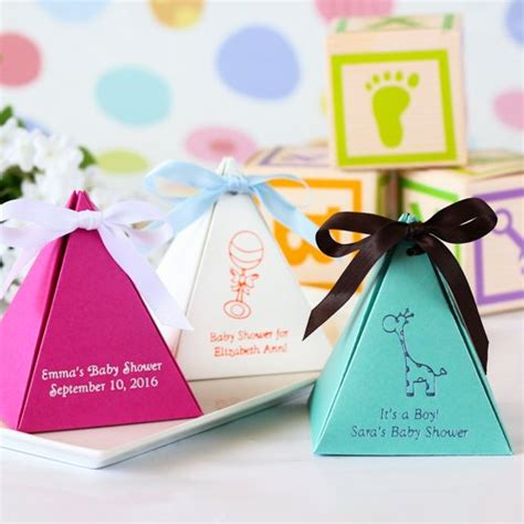 Favor Boxes Baby Shower by Personalized Pyramid Baby Shower Favor Box
