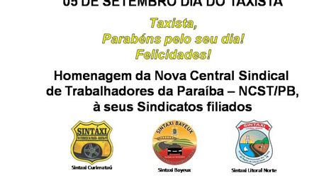 nova central sindical de trabalhadores ncst dia do taxista ncst pb