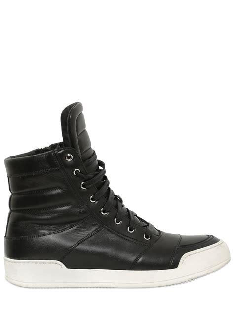 balmain mens sneakers lyst balmain leather high top sneakers in black for