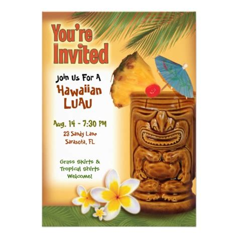 free printable hawaiian luau invitations 8 best images of tiki invitation free printable
