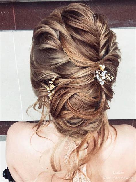 wedding hairstyles  long hair deer pearl flowers