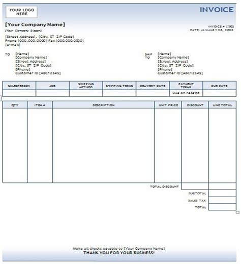 ms custom invoice template invoice templates business