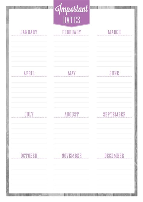 printable planner with dates free printable birthdays important dates planner eliza
