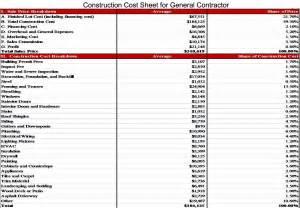 breakdown sheet template construction cost breakdown spreadsheet laobingkaisuo