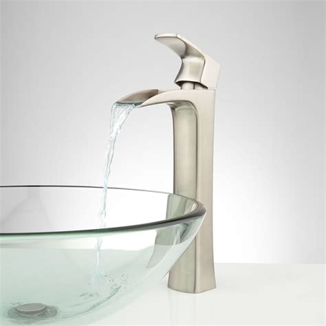 waterfall faucet for vessel sink quintero waterfall vessel faucet bathroom