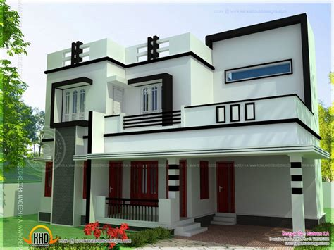 bedroom house plans flat roofs simple  bedroom house