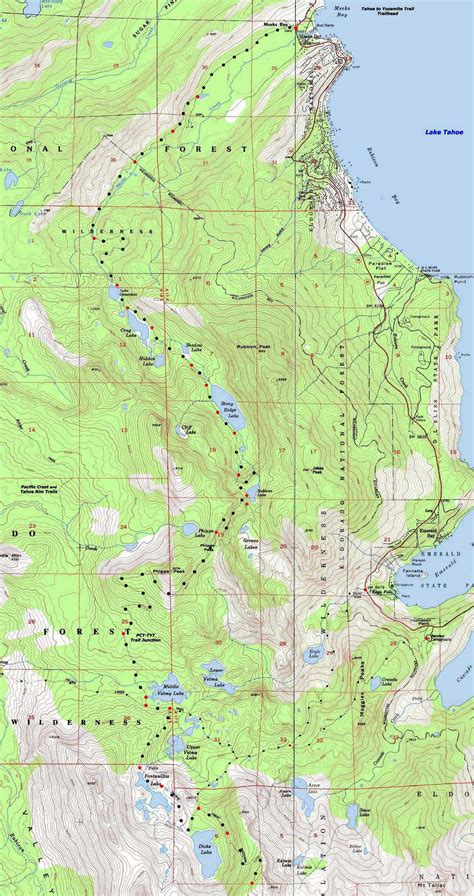desolation wilderness map topo hiking map desolation wilderness meeks bay to pass