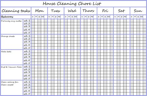 bedroom chore list chore list printables